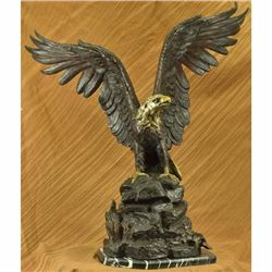 Extra Large Signed Mogniez Hot Cast American Bald Eagle Bronze Sculpture 120 LBS