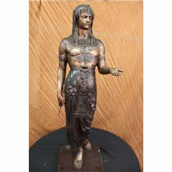 3 Feet Original Signed Egyptian Prince Bronze Sculpture Marble Base Statue Deco