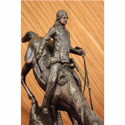 MOUNTAIN MAN BIG 25 1/2 H x 31 L Frederic Remington Bronze Sculpture Marble Base