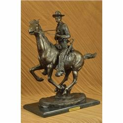 Extra Large Trooper of the Plains by Frederic Remington Cowboy on Horse Bronze