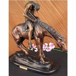 Signed American Remington Indian Man on Horse Bronze Sculpture Marble Statue Art