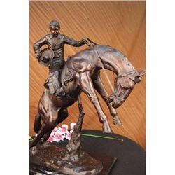 Bronco Twister, Hot Cast Bronze Cowboy on Horseback Sculpture Hot Cast Figure