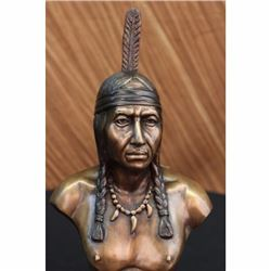 Native Indian Chief Bronze Bust Sculpture Statue 10 lbs Western Art Deco Figure