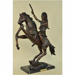 Fine Quality 24 Thomas Solid Bronze Sculpture of Indian on Horse Art Decor