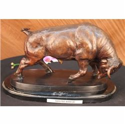 STOCK MARKET BULL BRONZE SCULPTURE SIGNED BY MOIGNIEZ