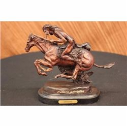 Frederic Remington Native American Indian Riding Horse Bronze Sculpture Figurine