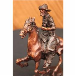 Vintage Reproduction Old Cowboy on Horse Bronze Sculpture by Frederic Remington