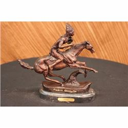 FREDRICK REMINGTON-WARRIOR HANDCAST BRONZE SCULPTURE/STATUE WITH MARBLE BASE