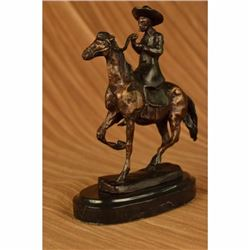 VTG FREDERIC REMINGTON COWBOY HORSE BRONZE SCULPTURE COUNTRY WESTERN CABIN DECO