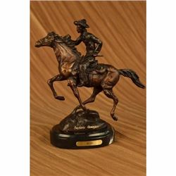 Frederic Remington. Trooper Bronze Sculpture Man Riding Horse Figurine Figure NR