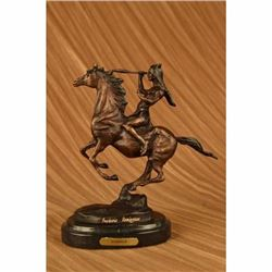 Frederic Remington Indian Warrior Chief on Horse Bronze Sculpture Western Statue