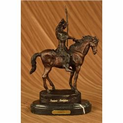 Thomas Native American Mohican on Horse with Spear Bronze Sculpture Statue NR