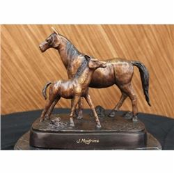Bronze Sculpture Mare W Her Baby Horse Stallion Farm Art Deco Figurine Moigniez