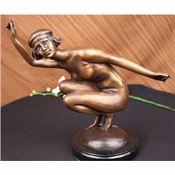 Signed Gory Gorgeous Nudist Performer Bronze Marble Sculpture Statue