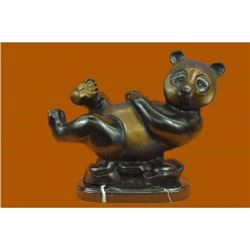 Limited Edition Numbered Lazy Chinese Panda Wildlife Creature Bronze Sculpture