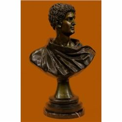 Roman Politician General Mark Anthony Bronze Sculpture Bust Marble Base Figurine