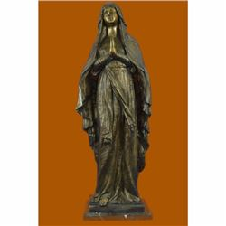 BRONZE SCULPTURE VIRGIN MARY HOLY STATUE