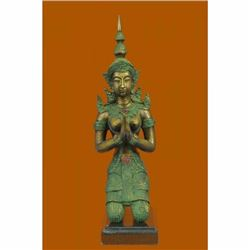 Bronze Buddhist Statues in Namaste and kneeling position known as Teppanom