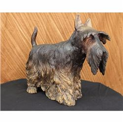 LARGE REAL BRONZE ENGLISH TERRIER DOG PET SCULPTURE ART