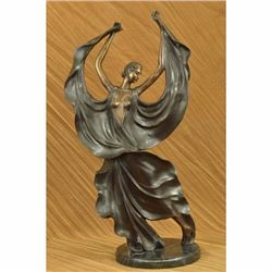 Rare Large Flamenco Dancer Bronze Sculpture Art Nouveau Marble Figurine 25.5 NR