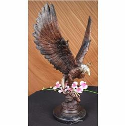 Signed Two Tone Moigniez Magnificent Large American Eagle Bronze Statue