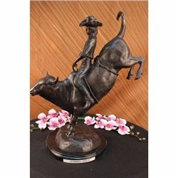 Wild American Classic West Cowboy Sculpture By Remington Bronze Marble Figurine