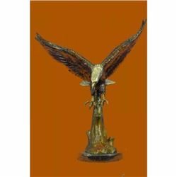 Multi Color Patina Extra Large American Eagle Bronze Sculpture Marble Base SALE