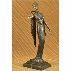 Art Deco Bronze Statue Nude Actress Dancer Jazz Club Italian Artist Figurine LRG