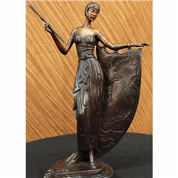 Hot Cast Bronze on Marble Base Art Deco Nude Dancer Actress Statue Sculpture Art