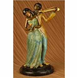 Man Serenading Young lady Violin Player Bronze Sculpture Hot Cast Art Deco SALE