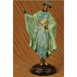 Special Patina Rare Japanese Style High Class Woman Bronze Sculpture Art Deco