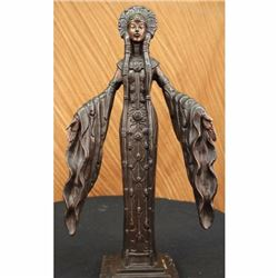 Art Deco Indian Girl W/ Long Gown Bronze Statue Figurine NR Sculpture Art Figure