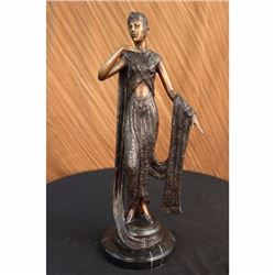 Art Deco Ribbon Dancer Bronze Sculpture Marble Base Figurine Hot Cast Figure LRG