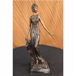 Bronze Sculpture Gorgeous Flower Woman Blossom Art Nouveau Deco Statue Figure