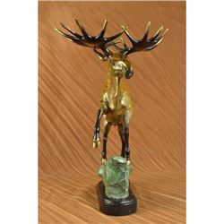 Hot Cast Hand Crafted Wild Moose Collector Edition Numbered Bronze Sculpture LRG