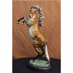 Beautiful Large Vienna Bronze Rearing Horse Sculpture Marble Base Signed Figure