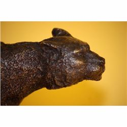 SIGNED STALKING PUMA PANTHER BRONZE SCULPTURE