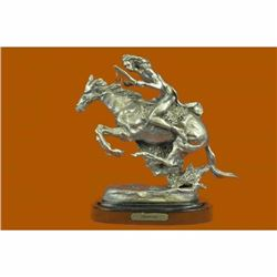 Art Deco Silver Player Indian Chief Riding Horse Bronze Sculpture Figurine Decor