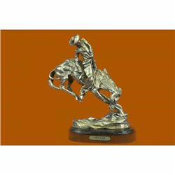 100% Real Silver Covered Bronze Cowboy on Rearing Horse Sculpture Remington Sale