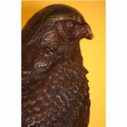 SIGNED EAGLE HAWK FALCON BRONZE SCULPTURE ART DECO BIRD