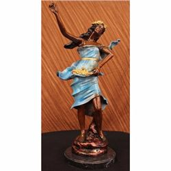 Large Island Girl with Flower Bronze Art Deco Sculpture Hot Cast Metal Figurine