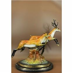 Art Deco Special Patina Two Running Stags Bronze Sculpture Musem Quality LTD Ed