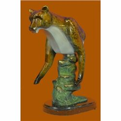 Sign Original Limited Edition Marius Cougar Mountain Lion Bust Bronze Sculpture