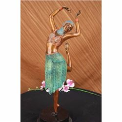 HND MADE REAL BRONZE MULTI COLOR GRACEFUL DANCER STATUE
