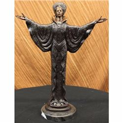 Rare Girl Byzantine Sculpture in Bronze Art Deco Marble Base Figurine Decor SALE