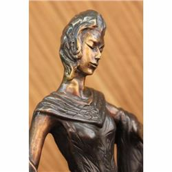 Art Deco Vintage Theater Jazz Singer Actress Dancer Bronze Marble Statue Decor