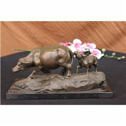 ORIGINAL MILO BULL WITH CALF BRONZE SCULPTURE