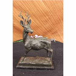 Hunter Prize Game Hunting Buck Stag Bronze Statue Figure