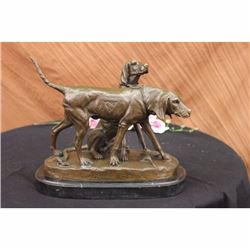 SIGNED VINTAGE HUNTING DOGS BRONZE SCULPTURE