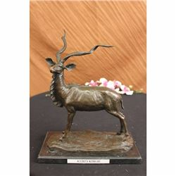 BRONZE MARBLE STATUE ELK BUCK STAG DEER BIG GAME HUNTER
